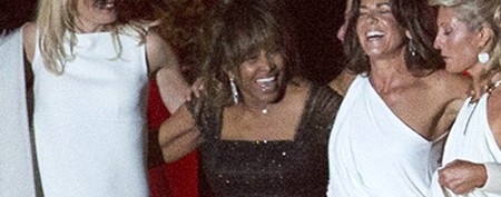 Tina Turner wears green at her wedding celebration