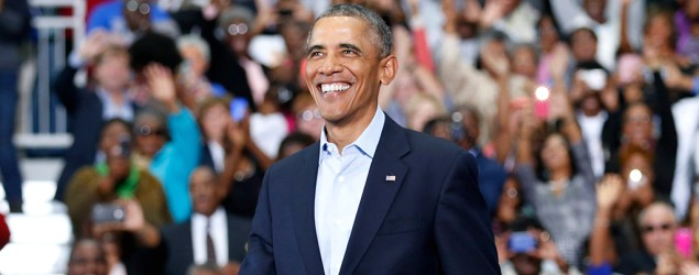 President Barack Obama smiles as he arrives to speak at a campaign rally for Maryland Lt. Gov. Anthony Brown. (Reuters)