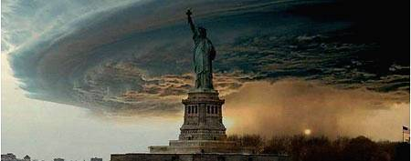 Don't fall for these fake storm photos. Here, this photo is actually a manipulation of the Statue of Liberty photo and a 2004 photograph of a supercell thunderstorm in Nebraska  (Trending Now)