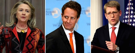 L-R: Secretary of State Hillary Clinton, Treasury Secretary Timothy Geithner and press secretary Jay Carney (Getty Images)