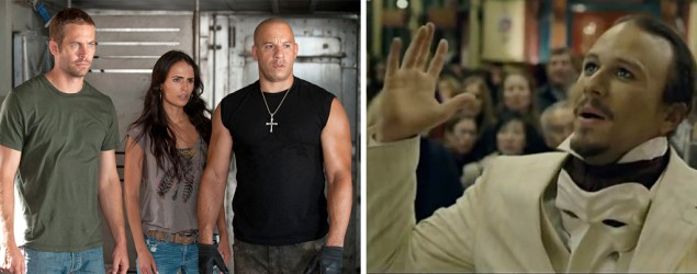 Paul Walker, left, in 'Fast & Furious 6' (Photo: Universal), Heath Ledger in 'The Imaginarium of Doctor Parnassus' (YouTube)