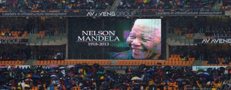 Tens of thousands gather for Nelson Mandela's official state memorial. (Peter Dejong/AP)