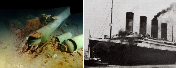 Near the whistles of Titanic's No. 2 funnel, a modern beer can lies on the seabed.  Trash has been dropped onto the site by vessels.  RMS Titanic. Inc./Woods Hole Oceanographic Institution, 2010; Titanic (AP)