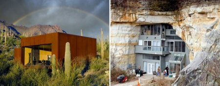 Homes in unusual places. Photos (L-R): Rick Joy; Caveland.us
