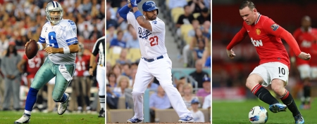Tony Romo (Al Messerschmidt/Getty Images); Matt Kemp (Harry How/Getty Images); Wayne Rooney (Alex Livesey/Getty Images)