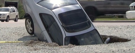 A Honda Prelude fell into a sinkhole in North Carolina. (ABC News)