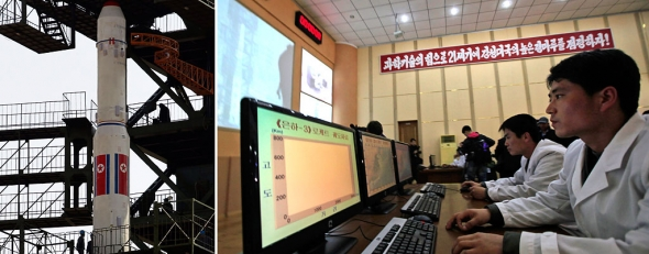 North Korea's Unha-3 rocket; Technicians man their computers as North Korea's Unha-3 rocket, (AP)