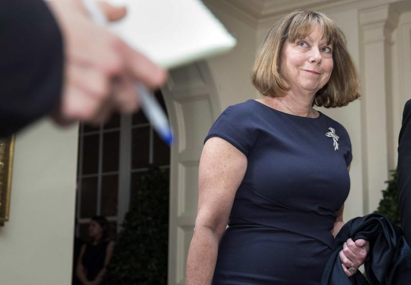 Jill Abramson arrives for the State Dinner being held for French President Francois Hollande at the White House