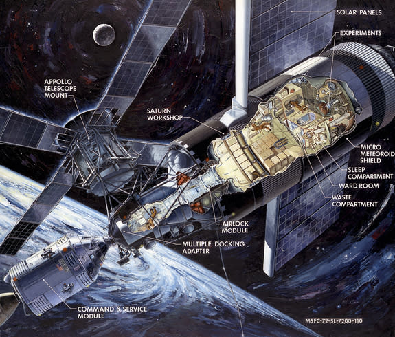 This illustration of Skylab shows the Apollo capsule, which was launched on a Saturn 1B rocket to ferry crews to space, docked to the multiple docking adapter, which was designed and built at NASA's Marshall Space Flight Center in Huntsville, A