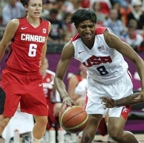 USA's Angel McCoughtry, center, tries to drive past Canada's Tamara Tatham during a women's basketball game at the 2012 Summer Olympics, Tuesday, Aug. 7, 2012, in London. (AP Photo/Charles Krupa)