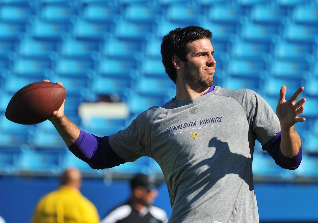 CHARLOTTE, NC - OCTOBER 30:  Quarterback Christian Ponder #7 of  the Minnesota Vikings warms up for play against the Carolina Panthers October 30, 2011 at Bank of America Stadium in Charlotte, North Carolina.  (Photo by Al Messerschmidt/Getty Images)