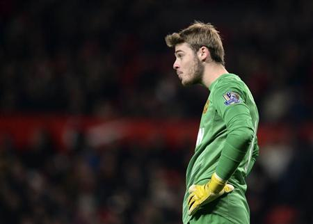 Manchester United's De Gea reacts during their English Premier League soccer match against Everton at Old Trafford in Manchester