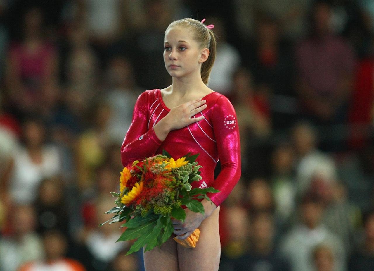 Shawn Johnson of the USA looks on during the flower ceremony after the women's Floor final competition of the 40th World Artistic Gymnastics Championships on September 9, 2007 at the Hanns-Martin-Schleyer hall in Stuttgart, Germany.