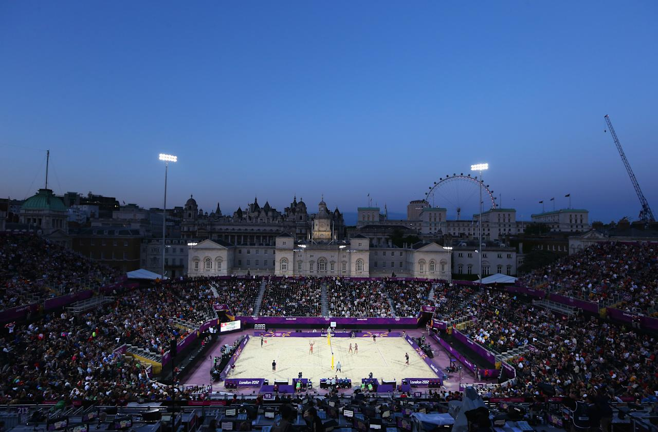 LONDON, ENGLAND - JULY 28:  A general view during the Women's Beach Volleyball Preliminary Round between Switzerland and Greece on Day 1 of the London 2012 Olympic Games at Horse Guards Parade on July 28, 2012 in London, England.  (Photo by Ryan Pierse/Getty Images)