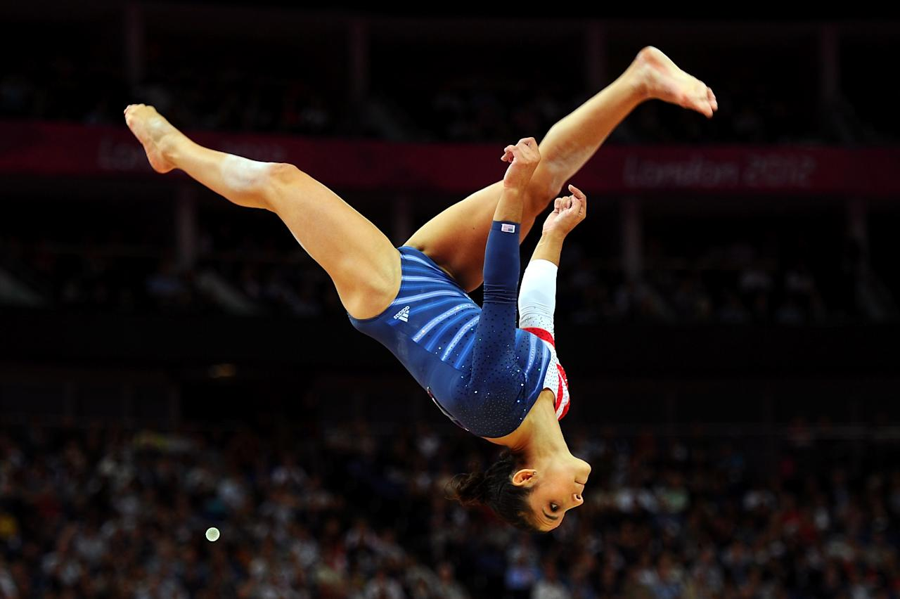LONDON, ENGLAND - AUGUST 07:  Alexandra Raisman of the United States competes on the beam during the Artistic Gymnastics Women's Beam final on Day 11 of the London 2012 Olympic Games at North Greenwich Arena on August 7, 2012 in London, England.  (Photo by Michael Regan/Getty Images)