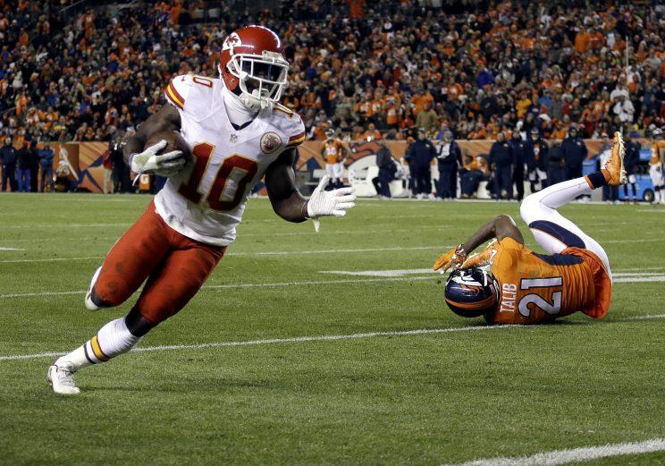 Tyreek Hill scored three touchdowns for the Chiefs on Sunday night (AP)