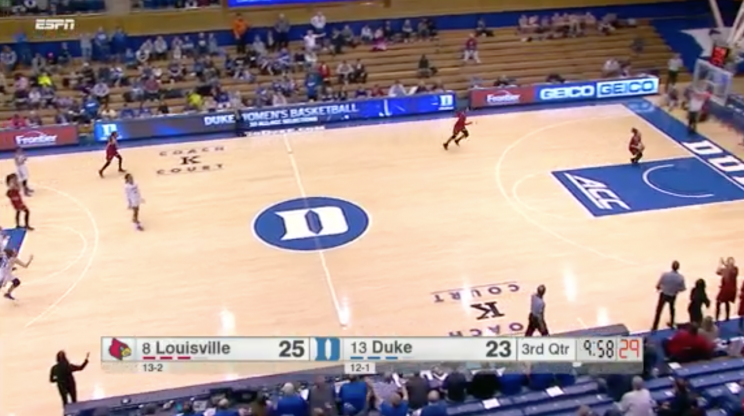 Duke defends wrong basket after being fooled by Louisville
