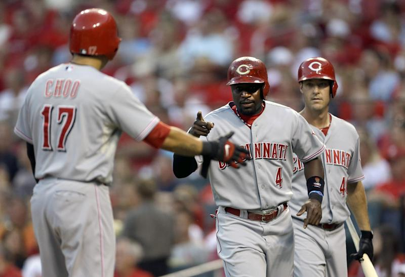 Bruce leads Reds' 10-0 rout over Cardinals