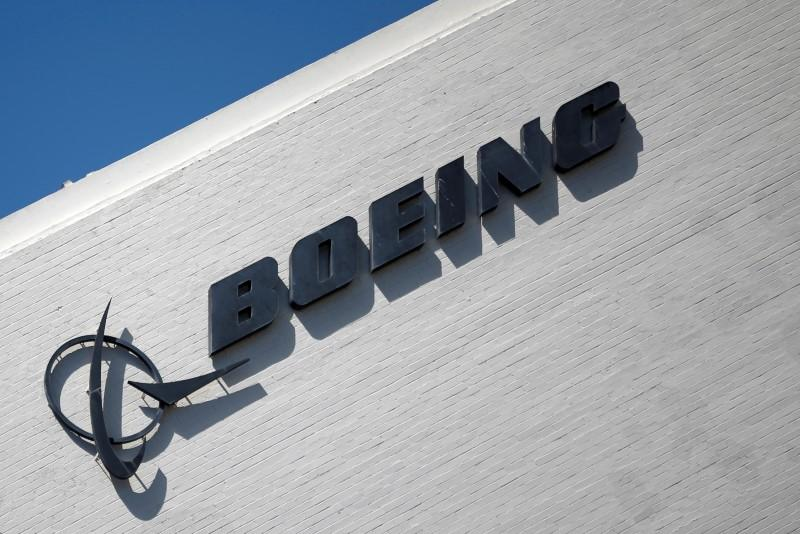The logo of Dow Jones Industrial Average stock market index listed company Boeing (BA) is seen in Los Angeles