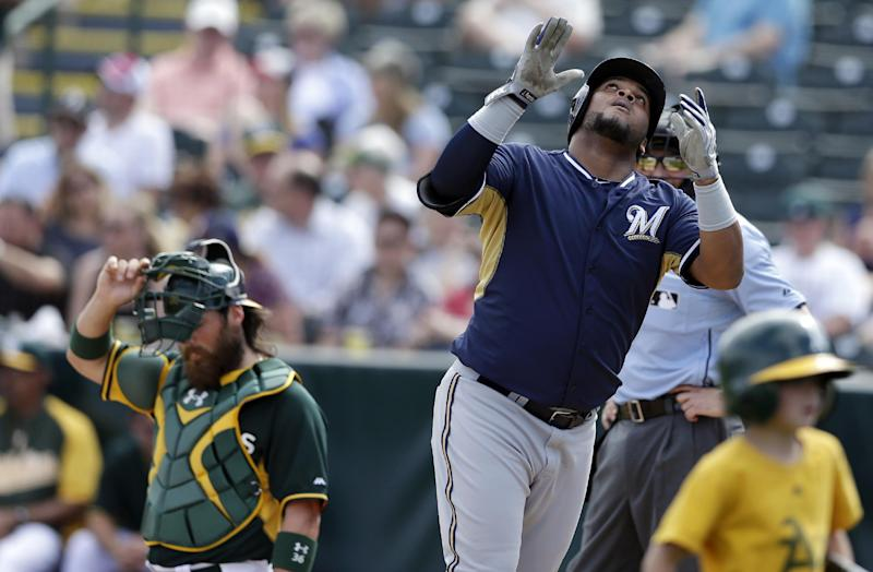 Francisco gives Brewers 2 reminders of potential