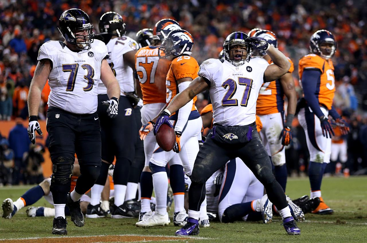 DENVER, CO - JANUARY 12:  Ray Rice #27 of the Baltimore Ravens celebrates after he scored a 1-yard rushing touchdown in the third quarter against the Denver Broncos during the AFC Divisional Playoff Game at Sports Authority Field at Mile High on January 12, 2013 in Denver, Colorado.  (Photo by Jeff Gross/Getty Images)