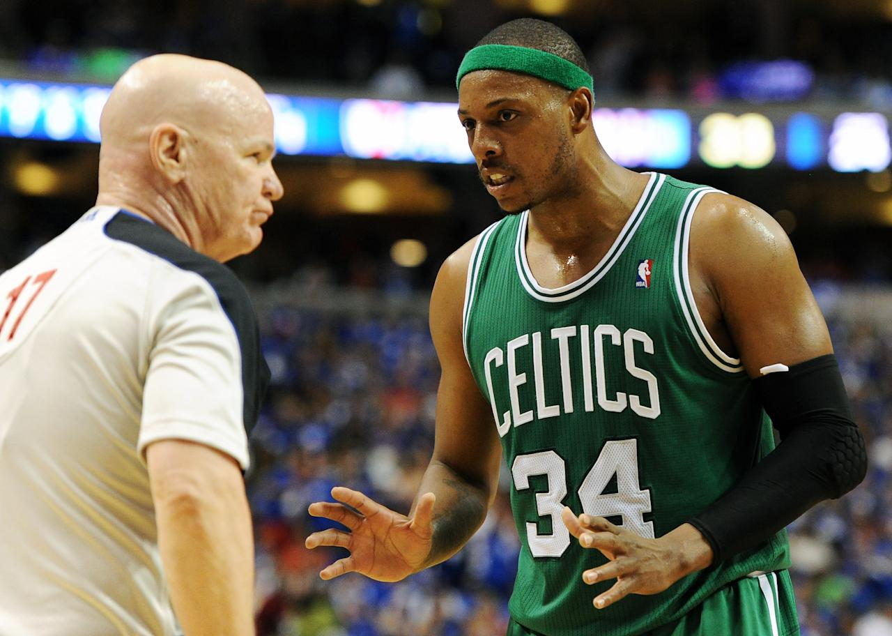 PHILADELPHIA, PA - MAY 23: Paul Pierce #34 of the Boston Celtics discusses a call with referee Joe Crawford #17 during the game against the Philadelphia 76ers in Game Six of the Eastern Conference Semifinals in the 2012 NBA Playoffs at the Wells Fargo Center on May 23, 2012 in Philadelphia, Pennsylvania. NOTE TO USER: User expressly acknowledges and agrees that, by downloading and or using this photograph, User is consenting to the terms and conditions of the Getty Images License Agreement. (Photo by Drew Hallowell/Getty Images)