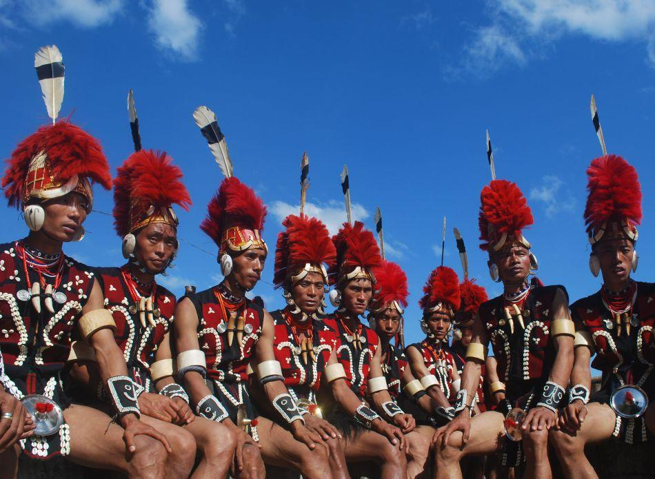 Naga tribesmen from the Pochury tribe clad in traditional attire. The Pochury people are one of 14 major Naga tribes.