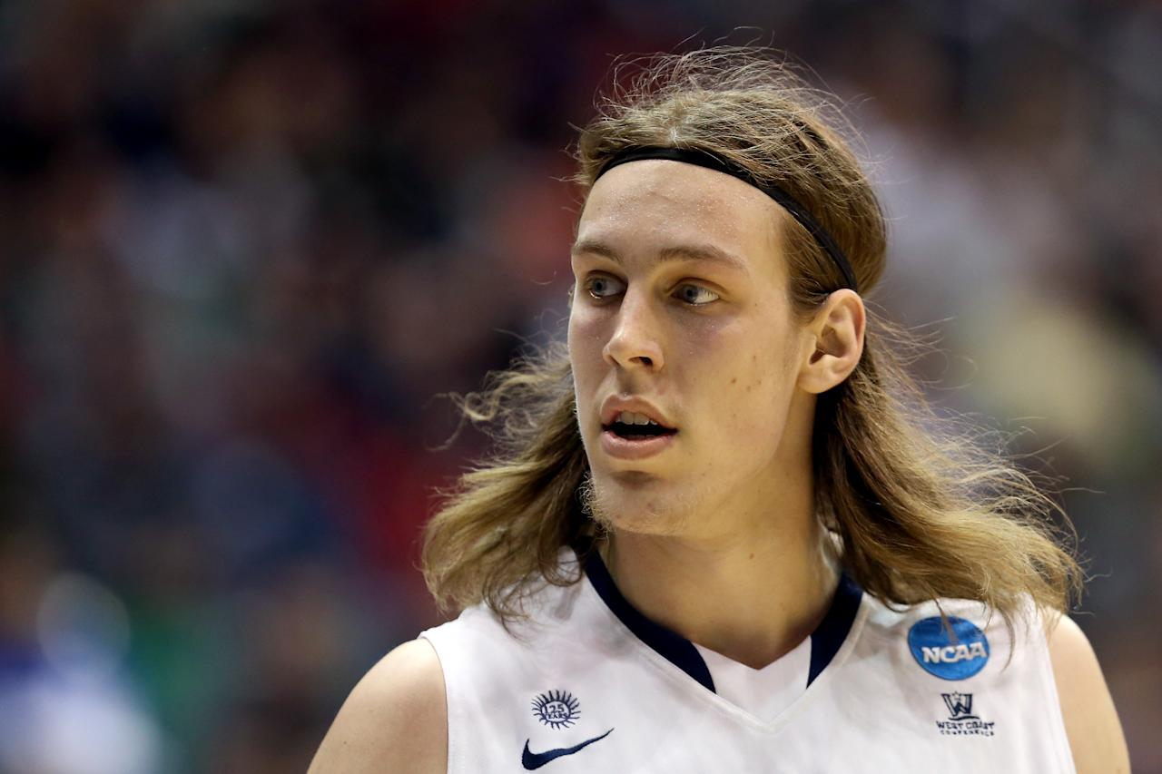 SALT LAKE CITY, UT - MARCH 21:  Kelly Olynyk #13 of the Gonzaga Bulldogs reacts in the first half while taking on the Southern University Jaguars during the second round of the 2013 NCAA Men's Basketball Tournament at EnergySolutions Arena on March 21, 2013 in Salt Lake City, Utah.  (Photo by Streeter Lecka/Getty Images)