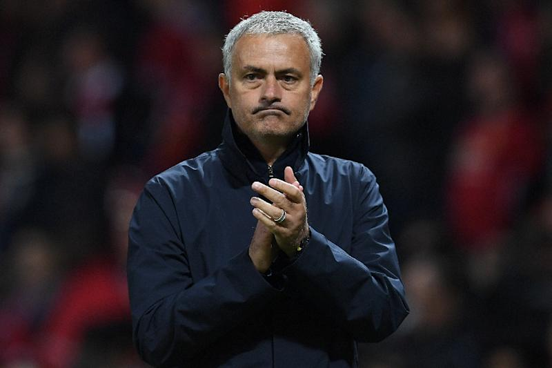 Manchester United's manager Jose Mourinho applauds the fans following the UEFA Europa League group A football match between Manchester United and Zorya Luhansk at Old Trafford stadium in Manchester, north-west England, on September 29, 2016