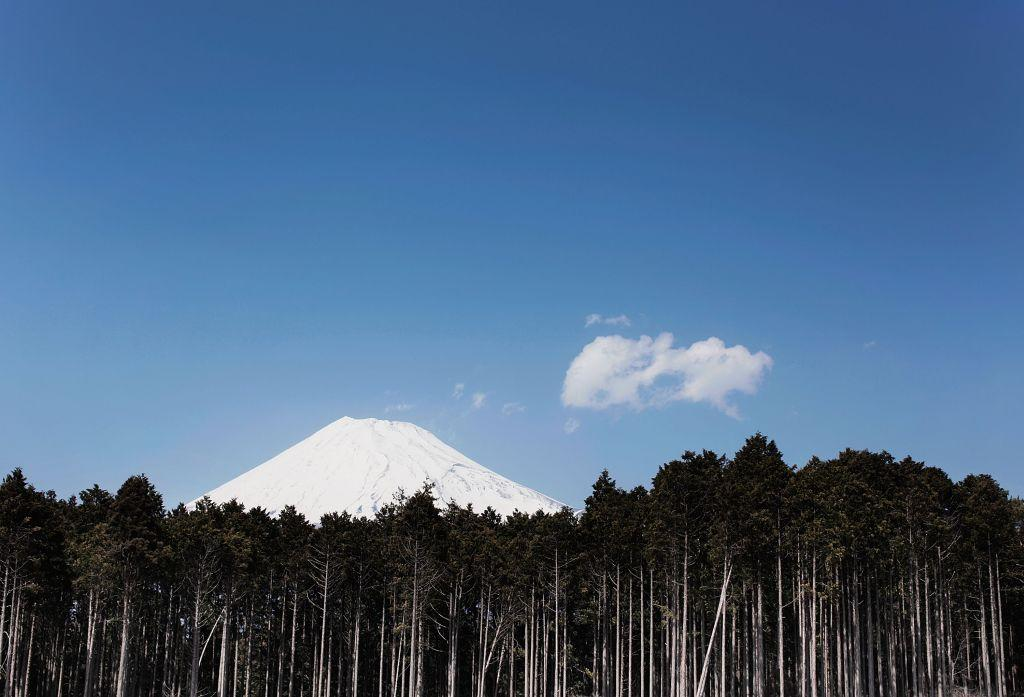 JAPAN:  A scene depicting Mount Fuji and the surrounding landscape in Izu, Japan.