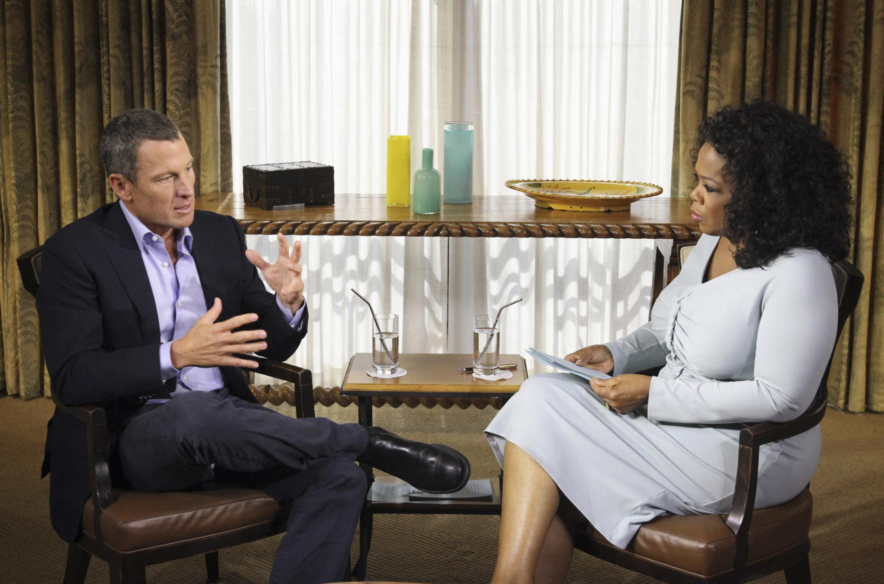 "FILE - In this Monday, Jan. 14, 2013, file photo provided by Harpo Studios Inc., talk show host Oprah Winfrey, right, interviews Lance Armstrong during taping for the show ""Oprah and Lance Armstrong: The Worldwide Exclusive"" in Austin, Texas. Armstrong confessed to using performance-enhancing drugs to win the Tour de France cycling during the interview that aired Thursday, Jan. 17, reversing more than a decade of denial. (AP Photo/Courtesy of Harpo Studios, Inc., George Burns, File)"