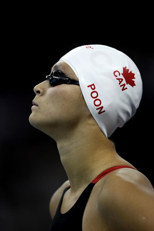 SHANGHAI, CHINA - JULY 30: Victoria Poon of Canada looks on before the Women's 50m Freestyle Semi Final during Day Fifteen of the 14th FINA World Championships at the Oriental Sports Center on July 30, 2011 in Shanghai, China.  (Photo by Clive Rose/Getty Images)