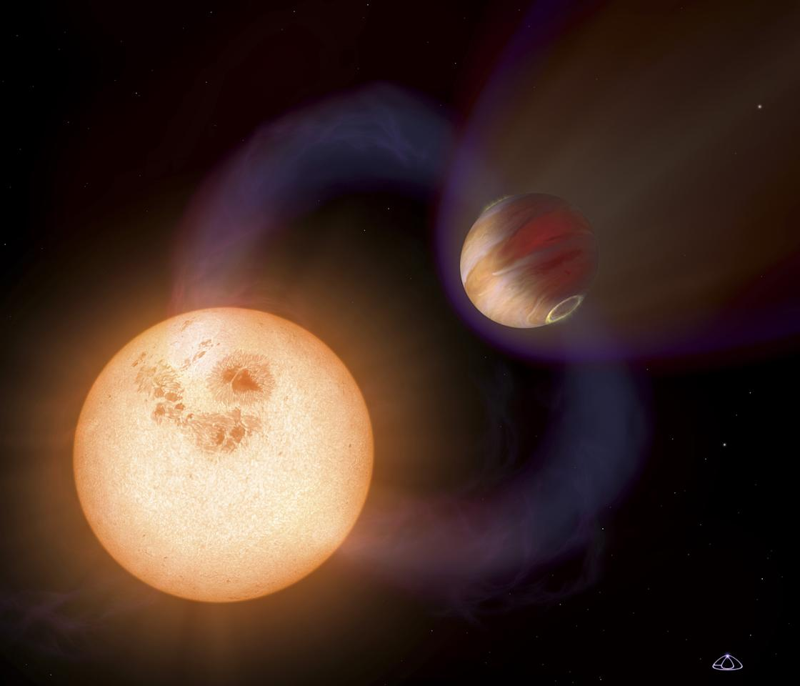 An artist's impression shows a unique type of exoplanet discovered with the Hubble Space Telescope. The planet is so close it to its star that it completes an orbit in 10.5 hours. The planet is only 750,000 miles from the star, or 1/130th the distance between Earth and the Sun.  The Jupiter-sized planet orbits an unnamed red dwarf star that lies in the direction of the Galactic Centre; the exact stellar distance is unknown.  REUTERS/NASA/ESA/A. Schaller/Handout