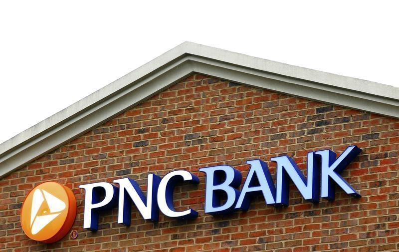 The logo above a PNC Bank is shown in Charlotte