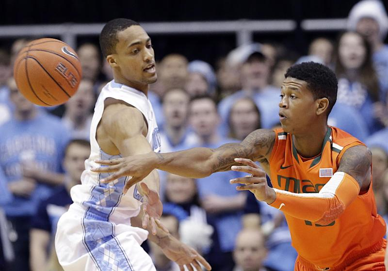 Hurricanes beat Tar Heels 63-57 for 1st ACC win