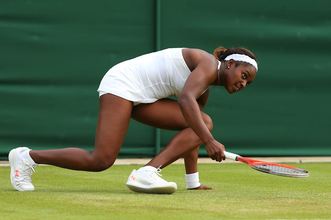 LONDON, ENGLAND - JUNE 26: Sloane Stephens of United States of America slips during her Ladies' Singles second round match against Andrea Petkovic of Germany on day three of the Wimbledon Lawn Tennis Championships at the All England Lawn Tennis and Croquet Club on June 26, 2013 in London, England. (Photo by Julian Finney/Getty Images)
