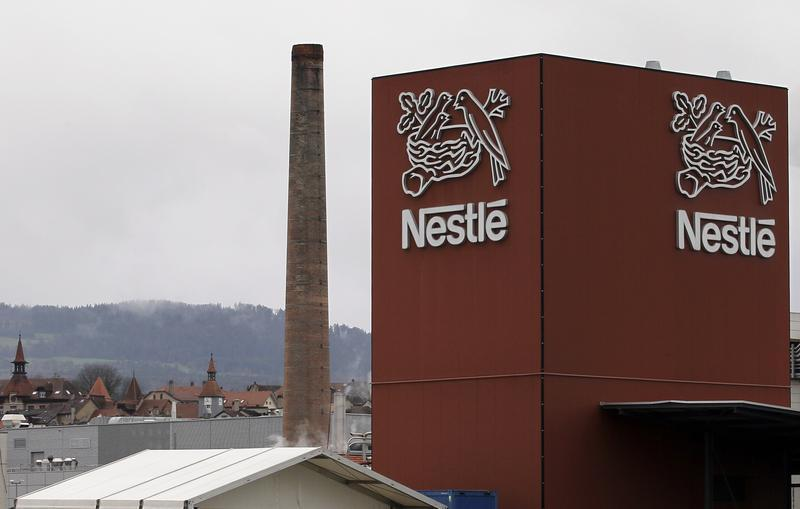 A Nestle logo is pictured on a factory in Orbe