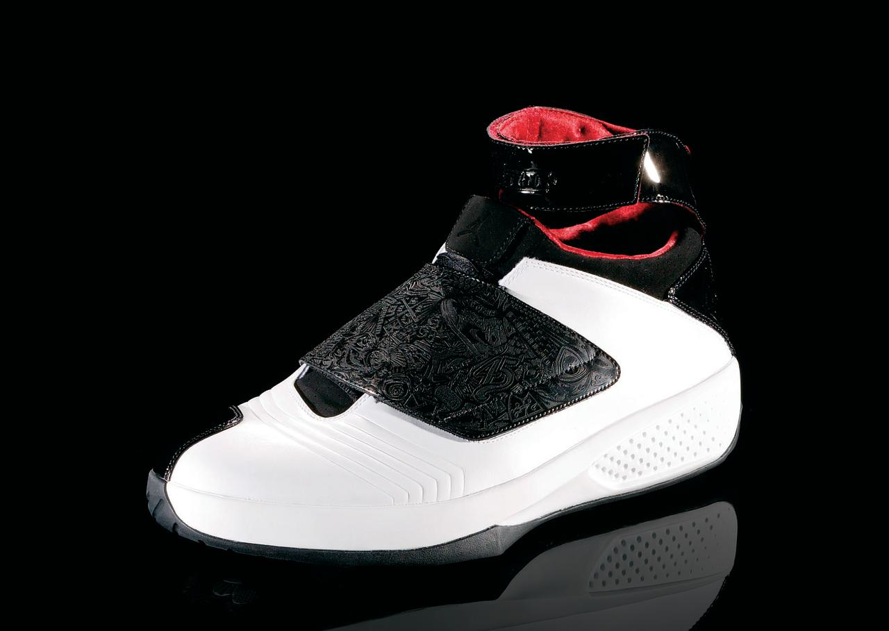 "<p>Air Jordan XX - ""Living Greatness"" (2005): The 20th anniversary edition, the laser etching on the upper part of the shoe commemorates MJ's life. (Photo Courtesy of Nike)</p>"