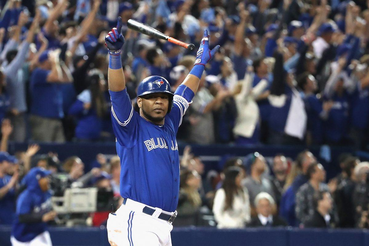 <p>A year after Jose Bautista delivered the bat flip heard 'round the world, it was Edwin Encarnacion's turn to come through with home run heroics in the postseason. Encarnacion hit a walk-off extra-innings blast against Baltimore in the AL wild-card game to kick off a Blue Jays postseason run that would end in the ALCS for a second straight season. (Getty Images)</p>