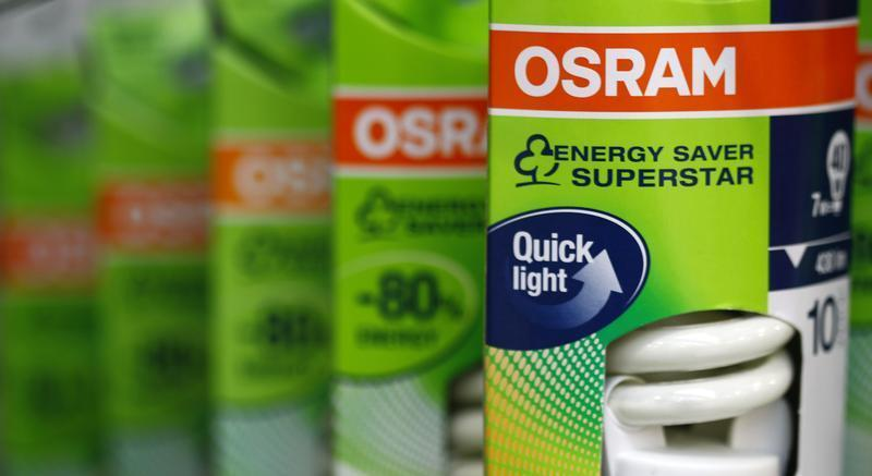 Light bulbs of lamp manufacturer Osram are pictured in shop in Germering