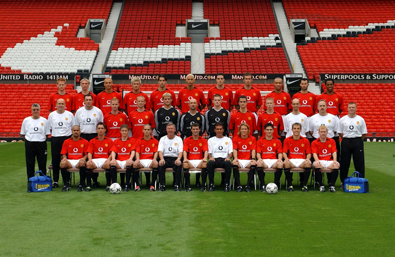 NICOSIA, CYPRUS - OCTOBER 29: The Manchester United team picture  Team Caption (BR-LR ) Michael Stewart, Luke Chadwick, Wesley Brown, David Beckham, Ruud Van Nistelrooy, Rio Ferdinand, John O'Shea, Laurent Blanc, Mikael Silvestre, Ryan Giggs and Quinton Fortune.  ( MR-LR ) Albert Morgan (Kit Manager) Mike Phelan ( Coach ) Tony Coton ( First Team Goalkeeping Coach ) Nicky Butt, David May, Roy Carroll, Fabien Barthez, Ben Williams, Danny Pugh, Lee Roche, Rob Swire (Physiotherapist) Dr Mike Stone (Club Doctor) Gary Armer (Masseur)  (FR- LR ) Juan Sebastian Veron, Gary Neville, Ole Gunnar Solskjaer, Paul Tierney, Sir Alex Ferguson (Manager) Roy Keane (Captain) Carlos Queiroz (First Team Coach) Diego Forlan, Bojan Djordjic, Phil Neville and Paul Scholes during the UEFA Champions League match between Maccabi Haifa v Manchester United at the GSP Stadium on October 29, 2002 in Nicosia, Cyprus.  (Photo by Manchester United via Getty Images)