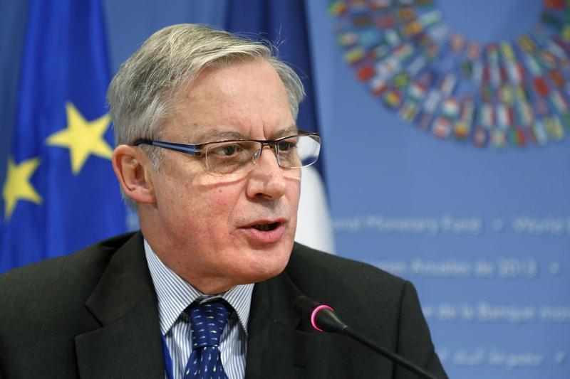 Noyer holds a news conference after meetings at the annual IMF-World Bank fall meetings in Washingto