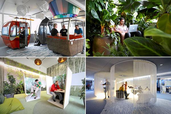 "Google's office in Zurich has gained particular attention for its workspace, which BBC News described as ""wacky."" Designed by Camenzind Evolution, it's a haven of beanbag furniture, neon signs, egg-shaped private work areas and a fire pole to slide down from floor to floor."