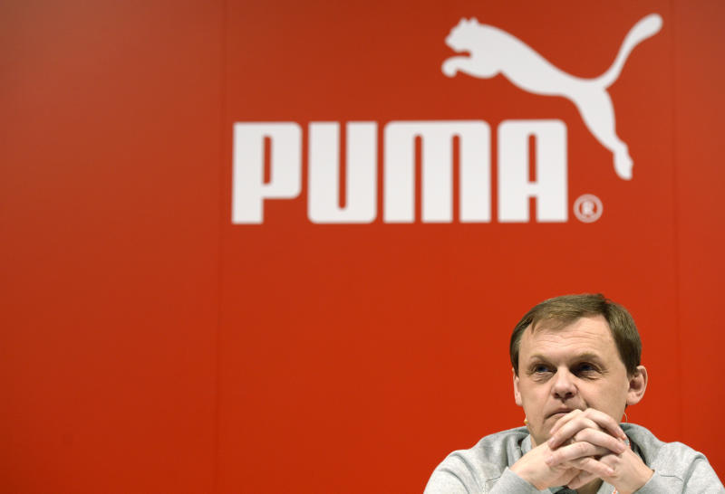 Puma CEO Bjoern Gulden at the company's annual press conference in Herzogenaurach, southern Germany on February 20, 2014