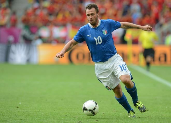 Italian forward Antonio Cassano controls the ball during the Euro 2012 championships football match Spain vs Italy on June 10, 2012 at the Gdansk Arena.   AFP PHOTO / CHRISTOF STACHECHRISTOF STACHE/AFP/GettyImages
