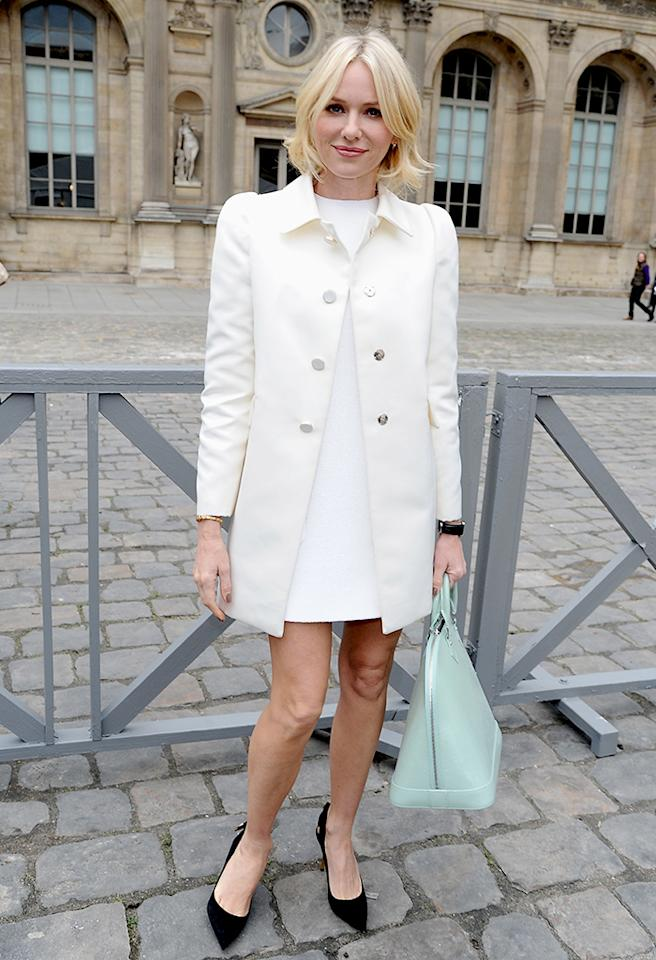"""Also spotted in France during Fashion Week was recent Oscar nominee Naomi Watts (""""The Impossible""""), who looked chic in a simple Louis Vuitton shift dress and ivory-colored coat. As for her accessories... the black pumps were a bit jarring, but the mint-hued handbag was to die for. Don't you think? (3/6/2013)"""