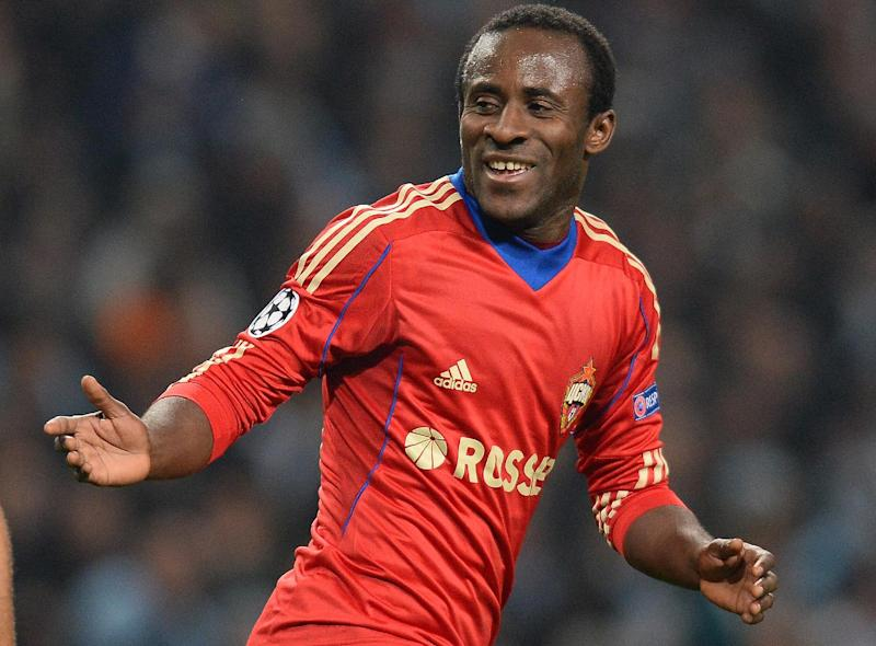CSKA Moscow's Ivorian forward Seydou Doumbia celebrates during the UEFA Champions League group D football match between Manchester City and CSKA Moscow at The City of Manchester stadium in Manchester, north-west England on November 5, 2013