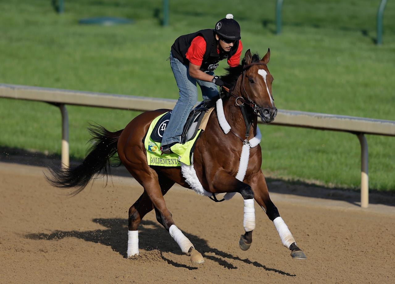 LOUISVILLE, KY - MAY 01:  Goldencents trains on the track in preparation for the 2013 Kentucky Derby at Churchill Downs on May 1, 2013 in Louisville, Kentucky.  (Photo by Rob Carr/Getty Images)