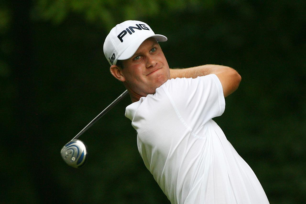 GREENSBORO, NC - AUGUST 19: Harris English hits his tee shot on the second hole during the final round of the Wyndham Championship at Sedgefield Country Club on August 19, 2012 in Greensboro, North Carolina. (Photo by Hunter Martin/Getty Images)