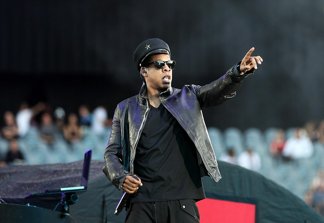 MELBOURNE, AUSTRALIA - DECEMBER 01:  Jay-Z performs on stage at Etihad Stadium on December 1, 2010 in Melbourne, Australia.  (Photo by Mark Metcalfe/Getty Images)
